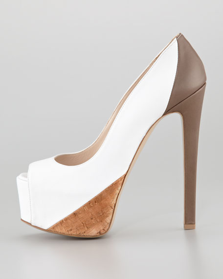 Hamel Platform Pump, Mink/Chocolate