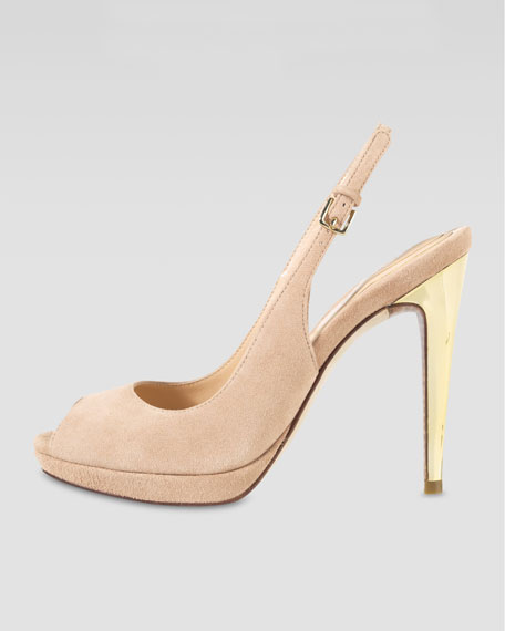 Chelsea Peep-Toe Slingback Pump, Sandstone