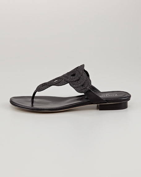 Yanna Braided Flat Thong Sandal, Black