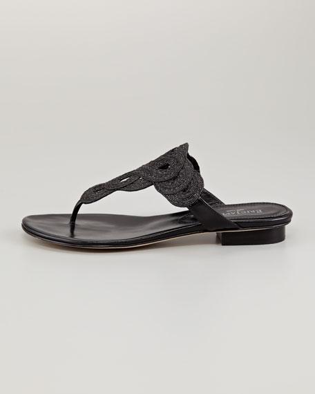Yanna Braided Flat Thong Sandal, Black