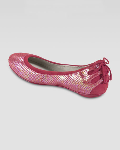 Air Bacara Backlace Ballet Flat, Cherry Tomato Snake Print