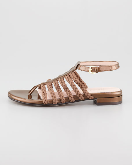 Italia Stretch Braided Ankle-Strap Sandal, Coffee