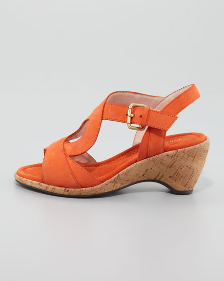 Marianna Cork Slingback Wedge Sandal, Orange
