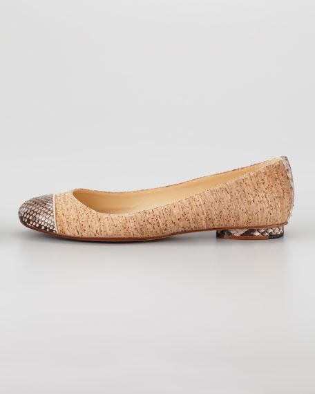 Python-Cap Cork Ballerina Flat, Duna