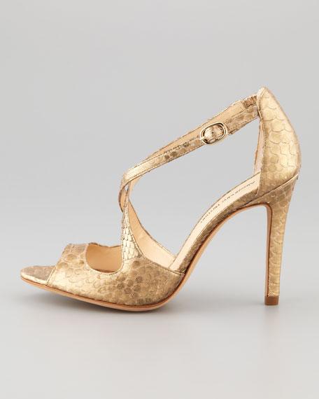 Metallic Python Crisscross Sandal