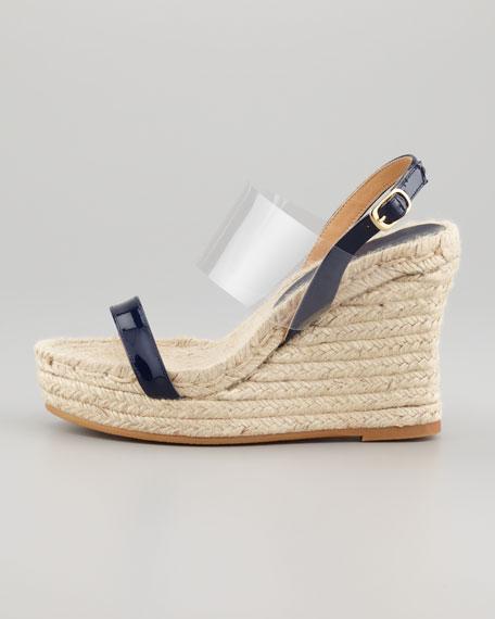 Clear Vinyl Strap Espadrille Wedge Sandal