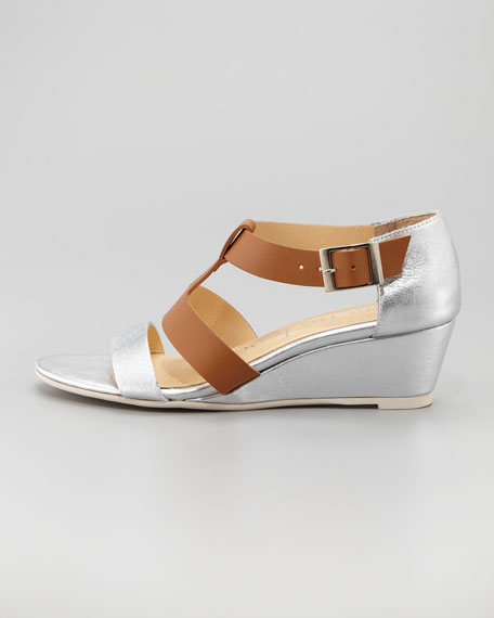 Absolute Wonder Wedge Sandal, Camel/Silver