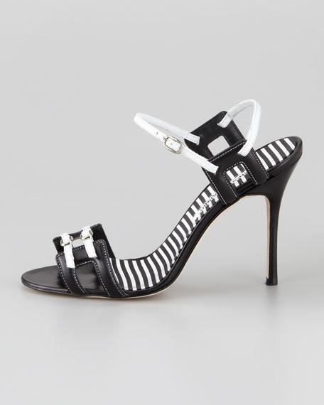 Chapi Double-Buckle Sandal, Black/White