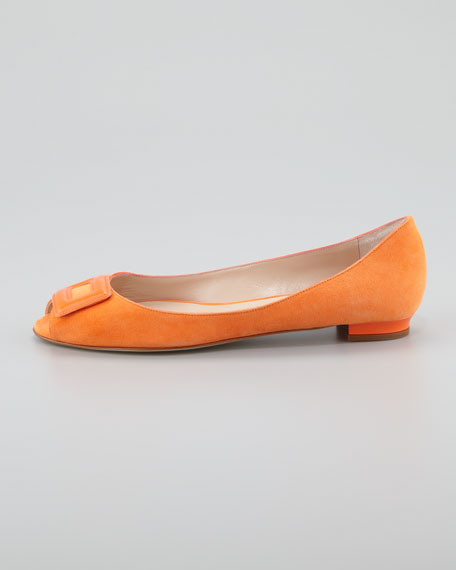 Fani Open-Toe Suede Ballerina Flat, Orange