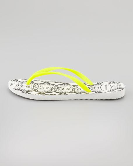 Slim Python-Print Flip-Flop, Yellow/
