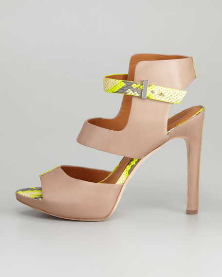 Devyn Snake-Print Strappy Sandal, Taupe/Lime