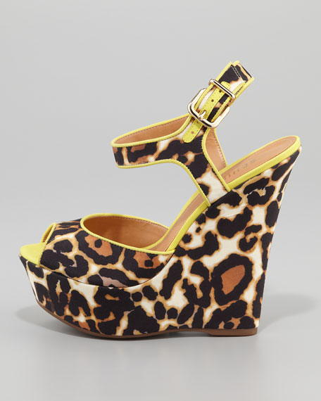 Nubuck Leopard-Print Wedge
