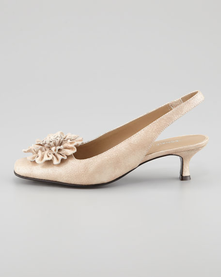 Soho Slingback Pump with Flower Detail, Champagne