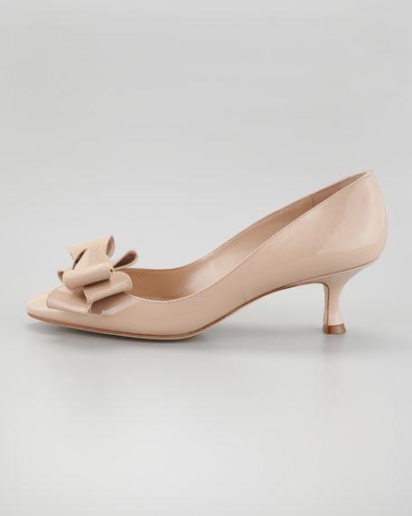 Lisane Bow-Toe Pump, Nude