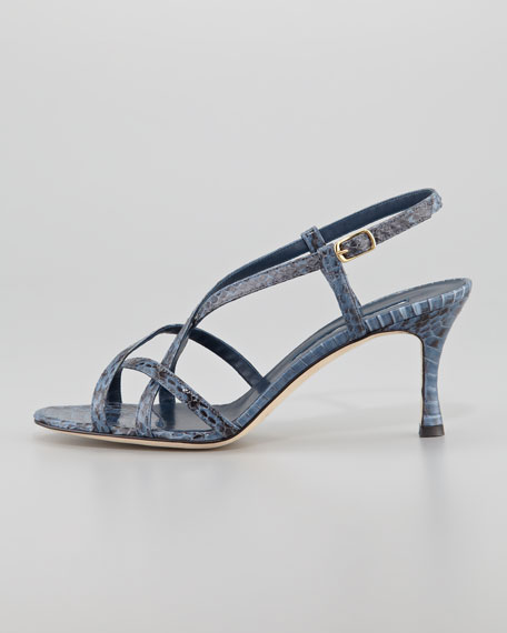 Scarsomod Snakeskin Strappy Slingback Sandal, Blue-Black