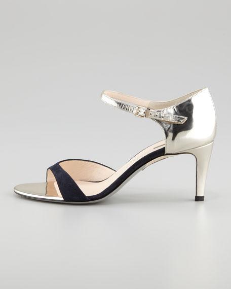 Ankle-Strap Stiletto Sandal, Blue/Platino