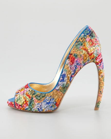 Puckered Print Peep-Toe Pump
