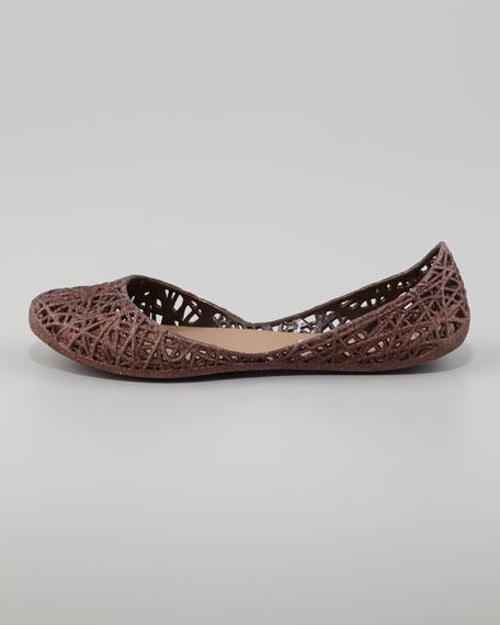 Melissa + Campana Papel III Glitter Jelly Flats, Bronze