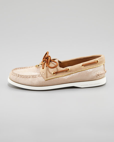 Metallic Sparkle Suede Slip-On, Taupe