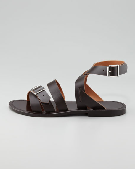 Double-Buckle Flat Ankle-Wrap Sandal, Dark Brown