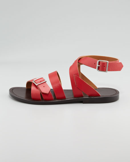 Double-Buckle Flat Ankle-Wrap Sandal, Red