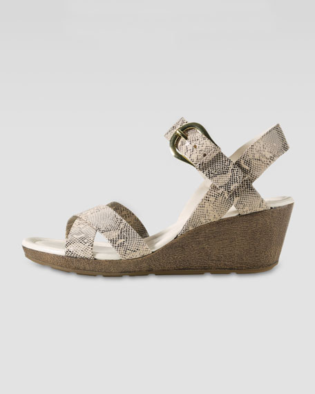 Air Tali Low Wedge Snake-Print Sandal