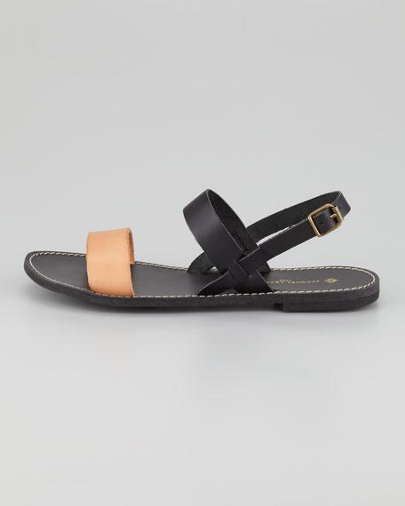 Stella Flat Colorblock Sandal, Black/Blush