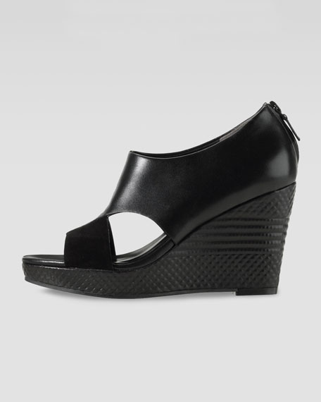Air Donella Open-Toe Wedge, Black