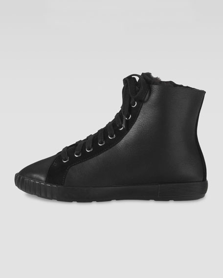Air Tali City Fur-Lined Ankle Boot, Black