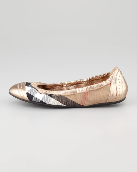Check Ballerina Flat, Pale Gold