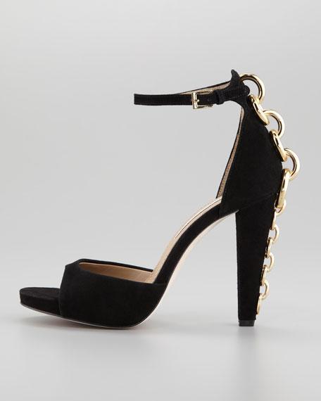 Sofia Chain-Back Runway Sandal, Black