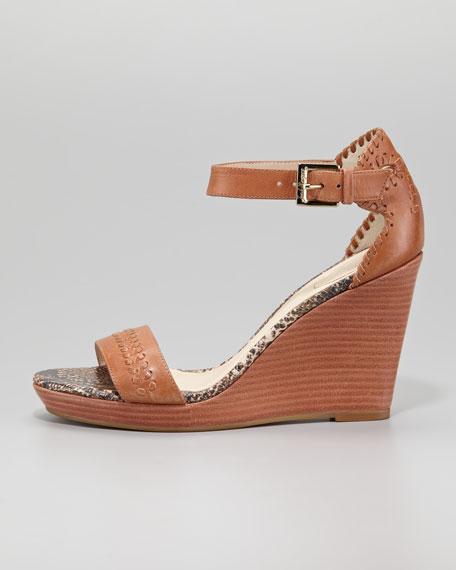Harper Braided Wedge Sandal, Cognac