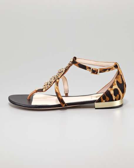 Daria Jaguar-Ornament Calf Hair Sandal