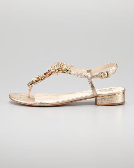 Marla Floral Brooch Flat Thong Sandal