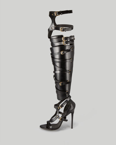 Strappy Buckled Sandal Boot, Black
