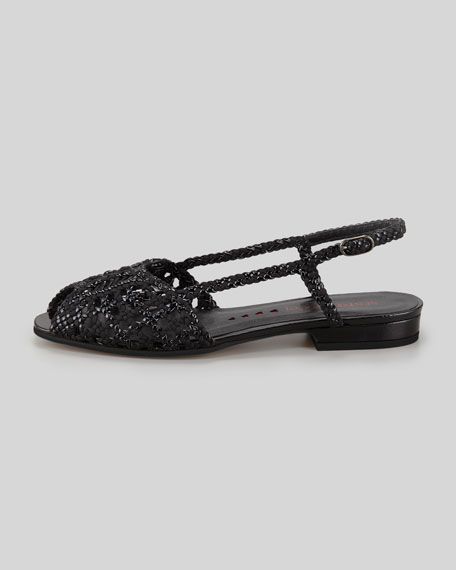 Grace Flat Woven Leather Slingback, Black