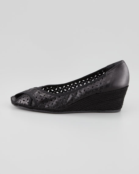Maddy Perforated Espadrille Wedge, Black