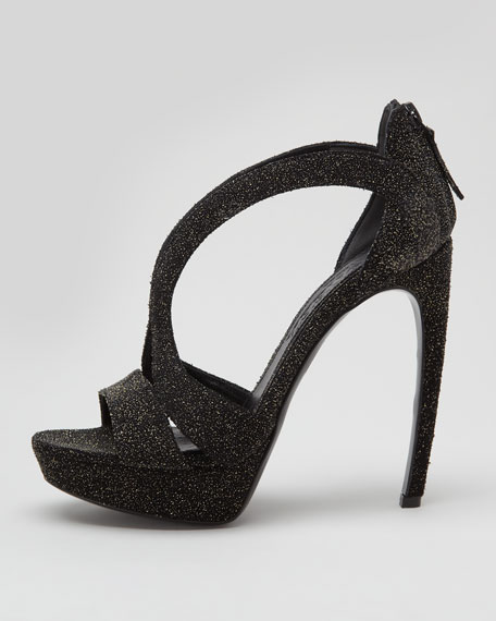 High-Heel Double-Arched Crystallized Sandal, Black
