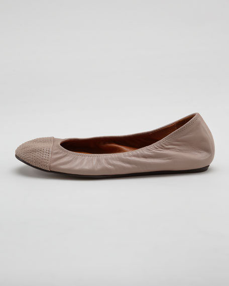 Scrunched Topstitched-Toe Ballerina Flat, Beige