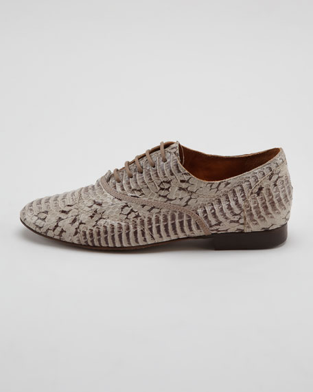 Faux Snake Derby Lace-Up Oxford, Gray