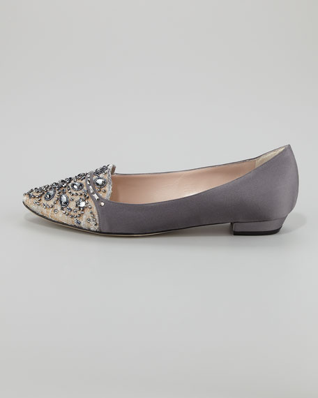 Satin and Lace Embellished Smoking Slipper, Gray