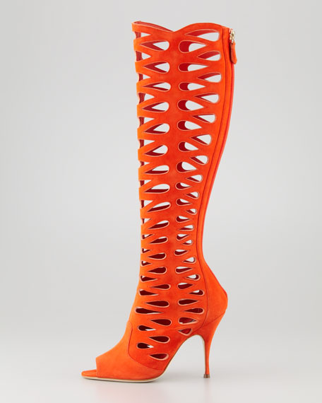 Electra Suede Laser-Cut Open-Toe Boot