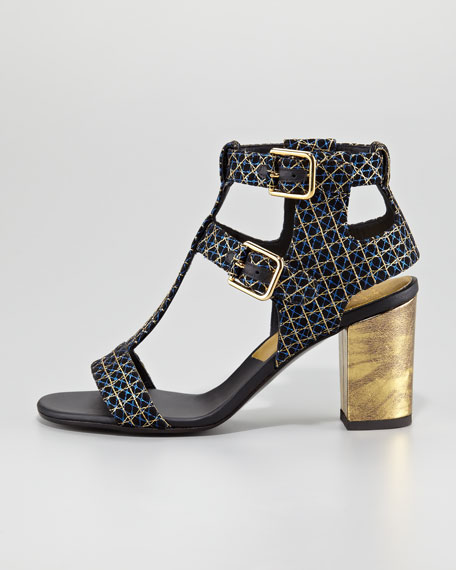 Diane Metallic Suede Buckled-Ankle Sandal