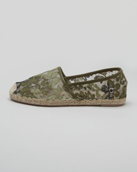 Lace Espadrille Flat, Green