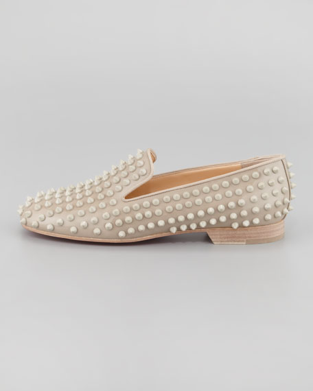 Rolling Spikes Red Sole Smoking Slipper, Nude