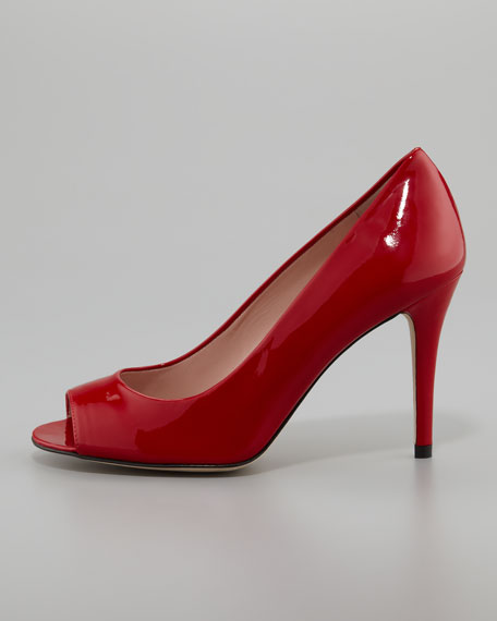Stylish Peep-Toe Pump, Flame Red