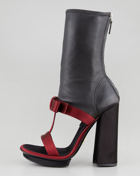 Satin & Leather T-Strap Ankle Boot Sandal, Burgundy