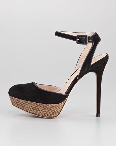 Lex Suede Ankle-Strap Pump, Black