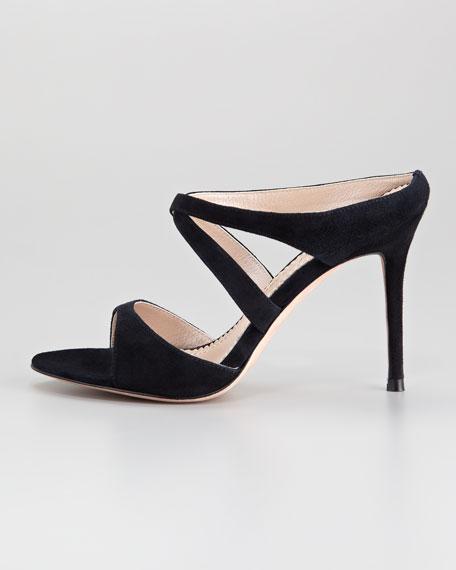 Orlanda Suede Crisscross Sandal, Black