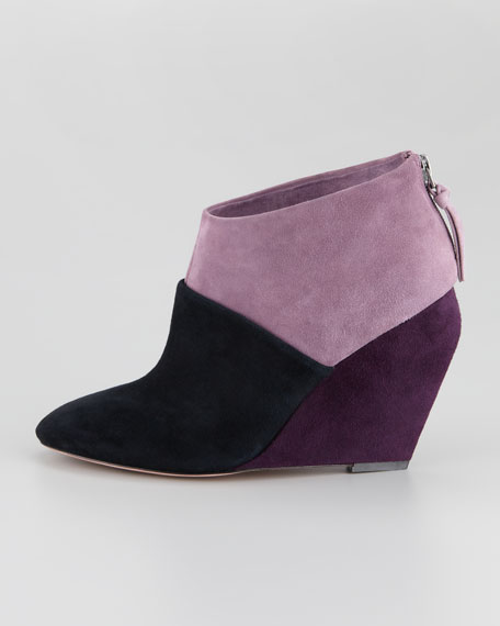 Colorblock Suede Wedge Bootie